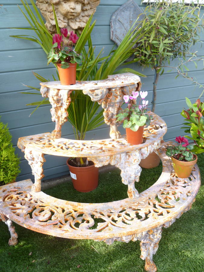 Half moon Coalbrookdale style plant stand