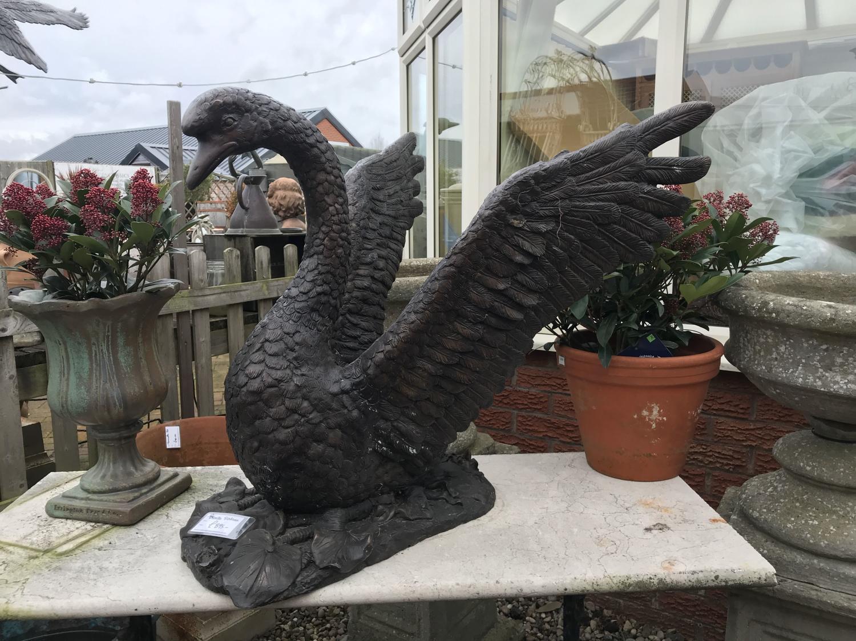 Large bronze swan garden statue