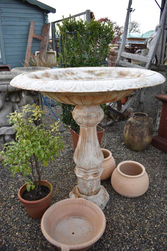 Large cast iron shallow planter on column - tazza urn