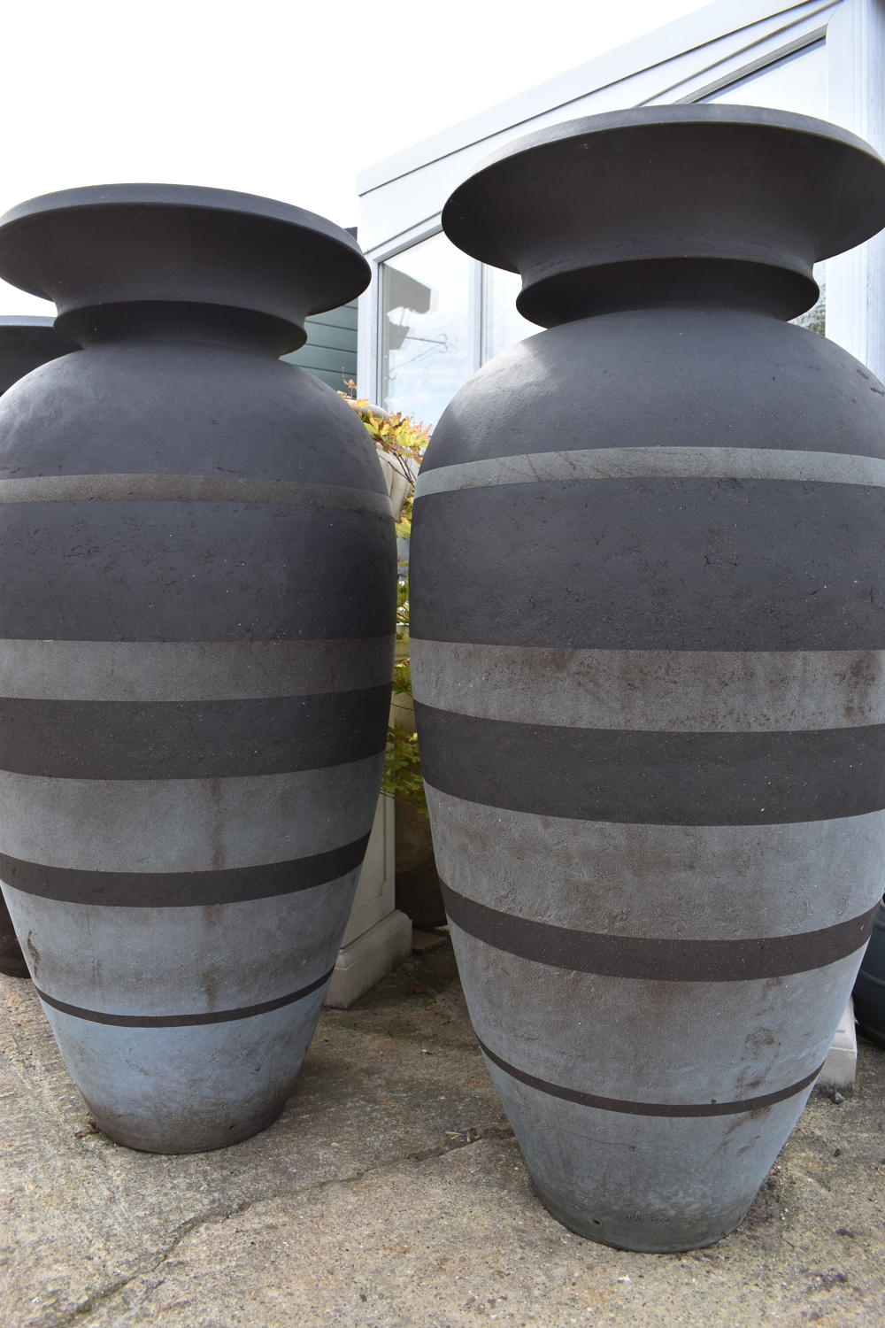 Pair of Enigma pots by Philip Simmonds 128 cm
