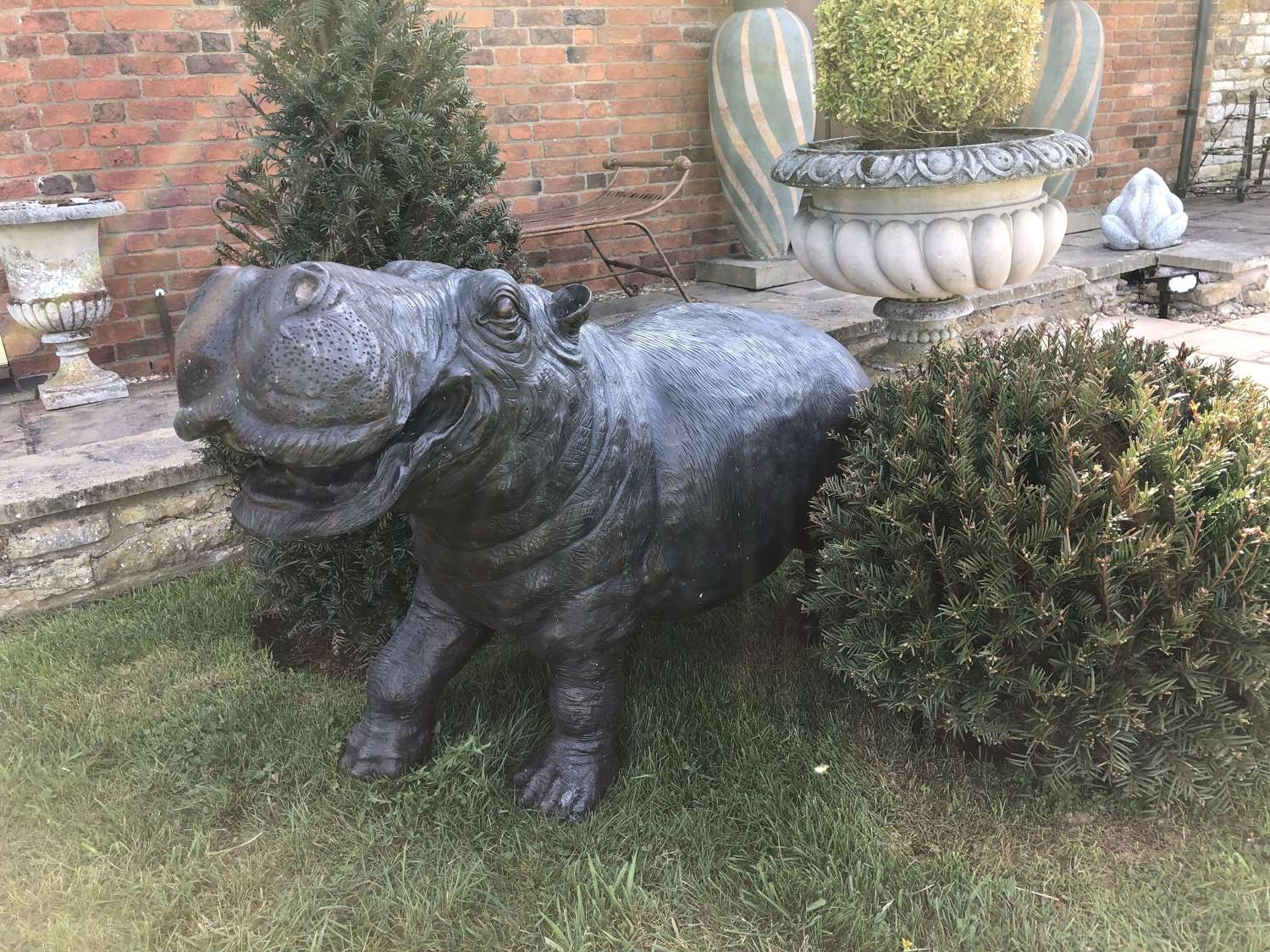 Bronze Hippo water feature
