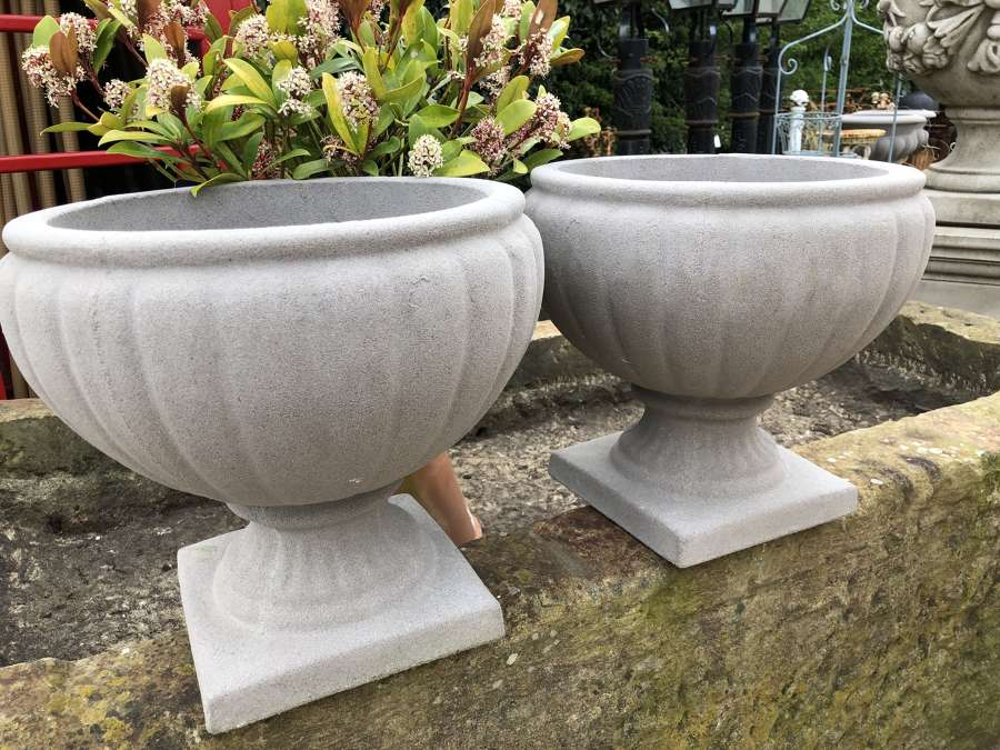 Pair of Rutland stone urns