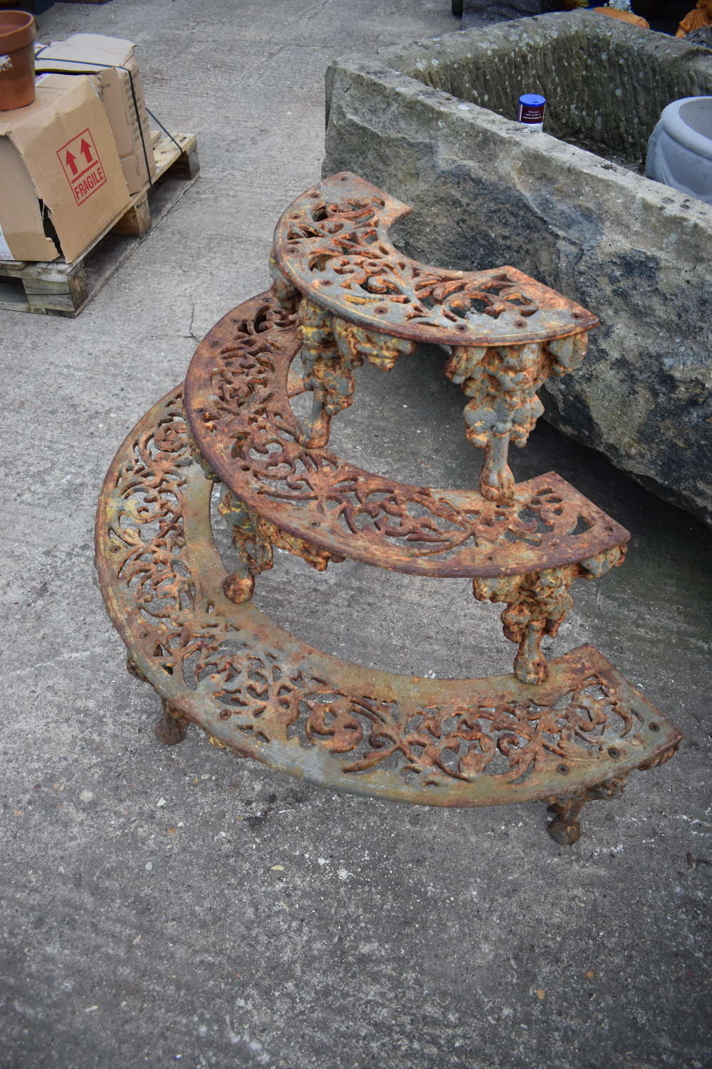 Coalbrookdale style cast iron plant stand