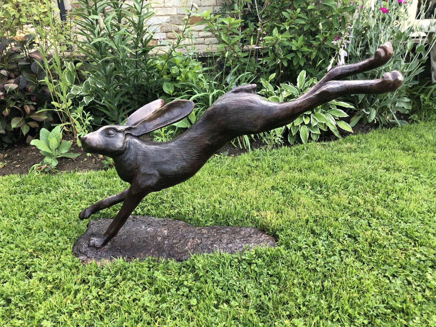 Bronze leaping hare - bronze hare sculpture