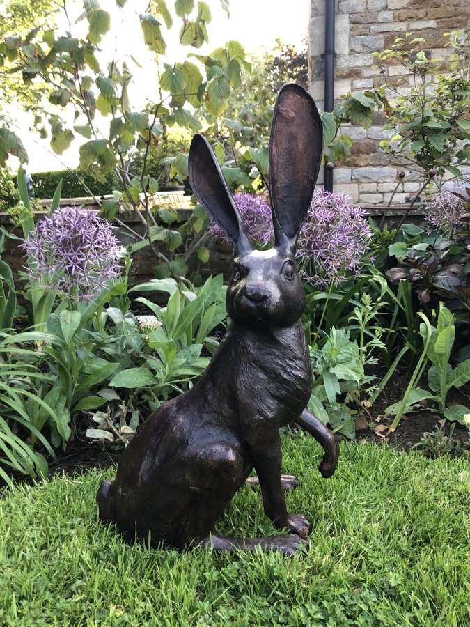 Bronze sitting hare - bronze hare sculpture
