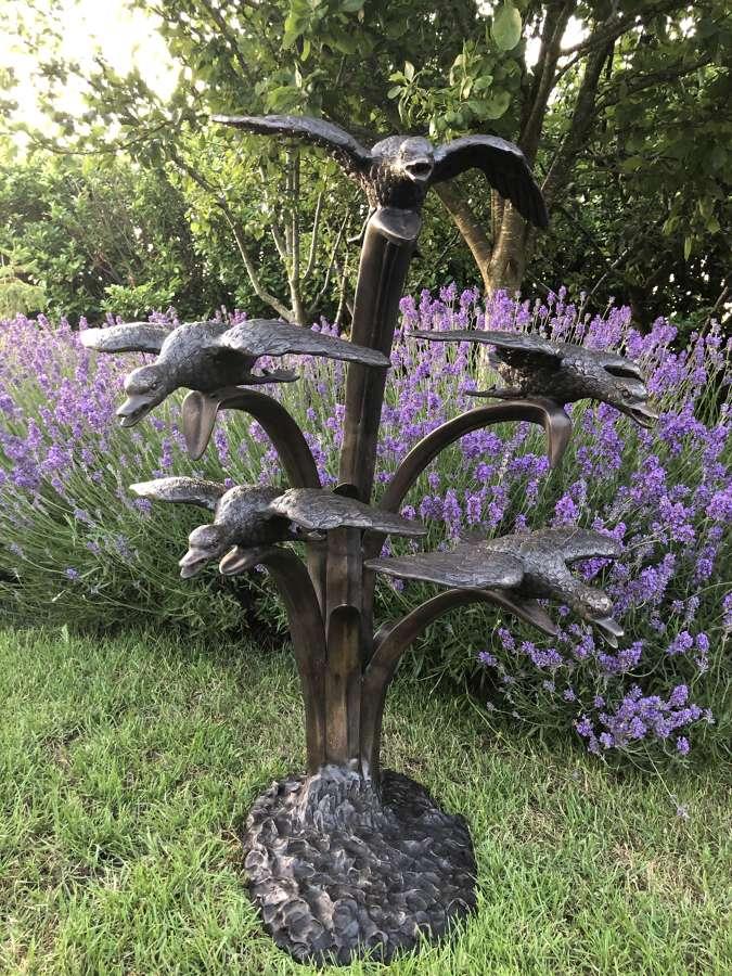 Bronze five ducks fountain - bronze water feature