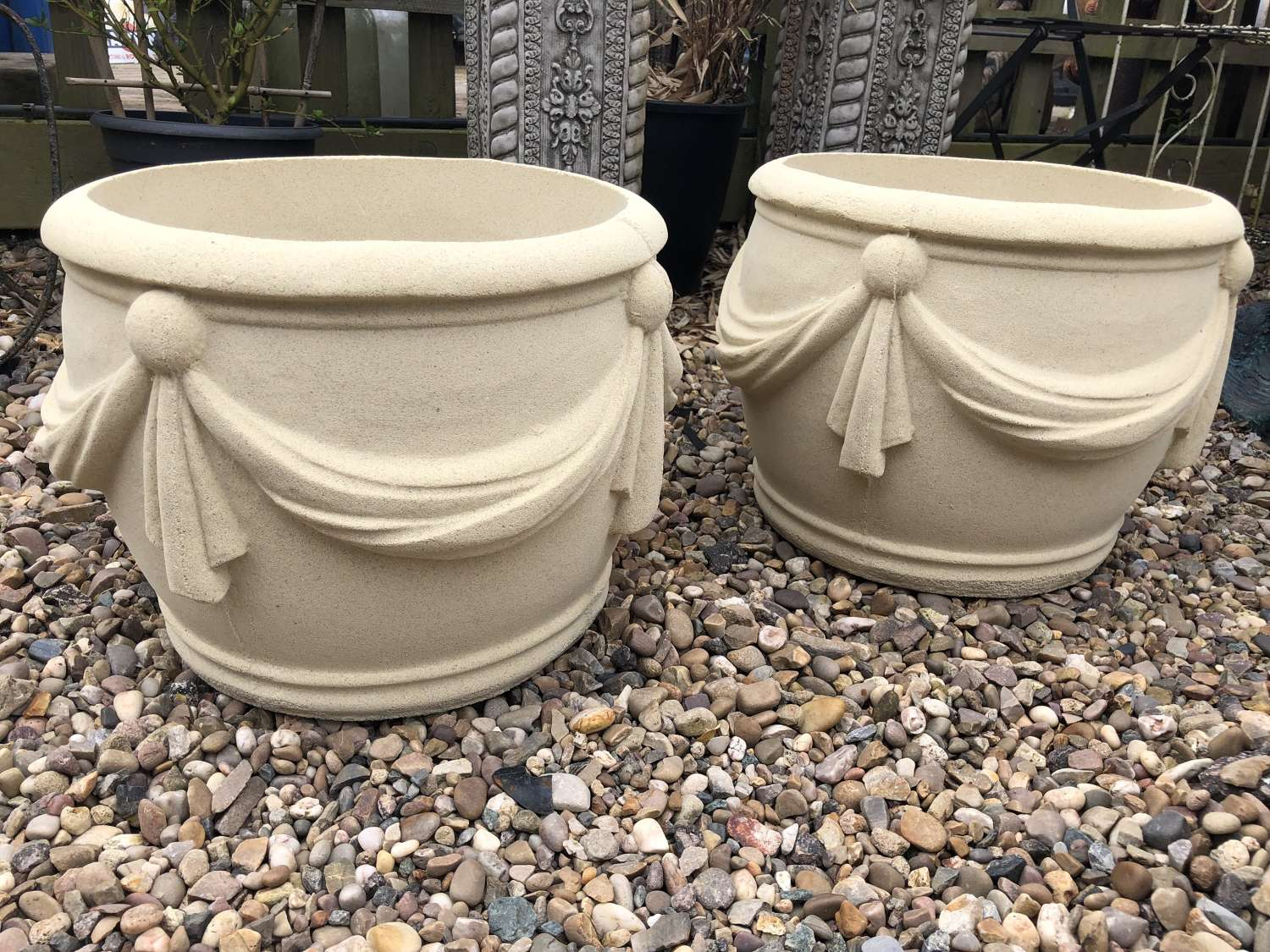 Pair of planters in Bathstone