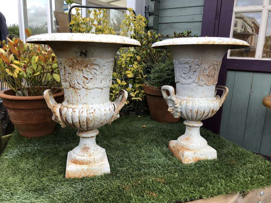 Pair of rusty white campagna urns with handles 62 cm