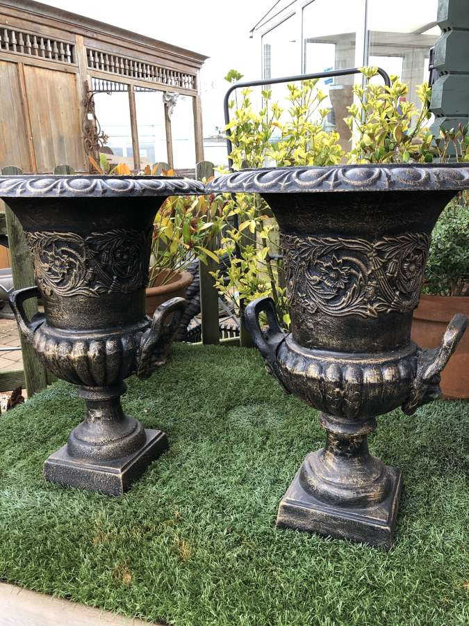 Pair of cast iron campagna urns with handles 62 cm