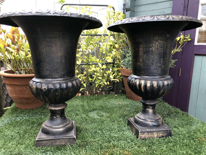 Pair of campagna urns 62 cm black/bronze finish