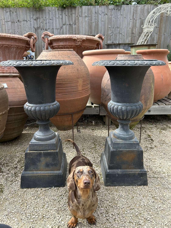 Pair of cast iron campagna urns & plinths (black/bronze) 88 cm