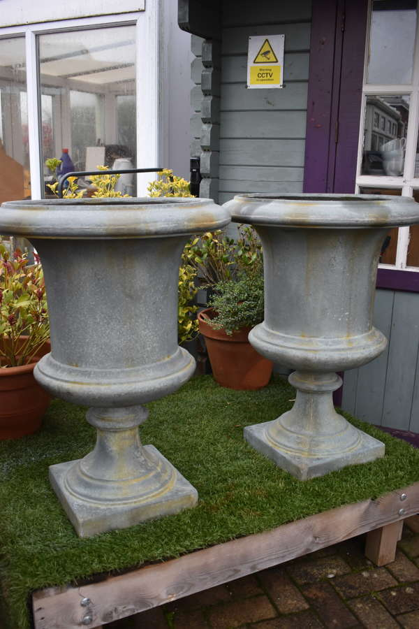 Lovely pair of faux cast iron urns