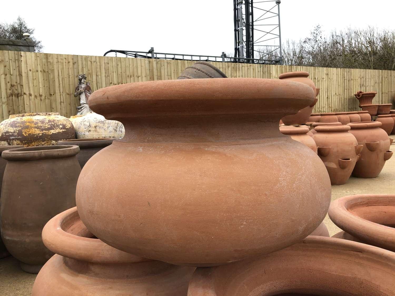 Plain low Terracotta Planters - Italian Terracotta Bowls 60 cm dia