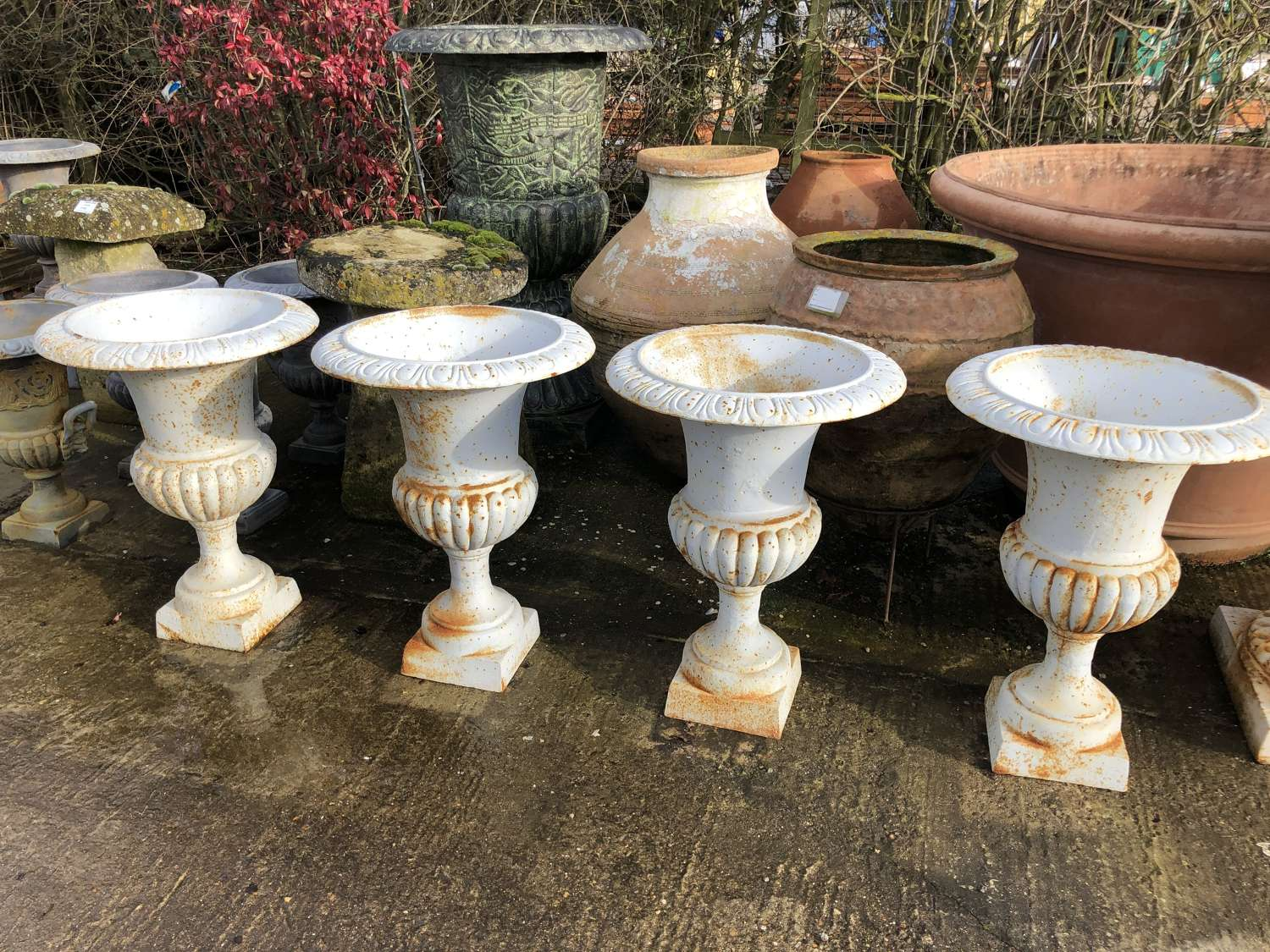 Set Of Four Cast Iron Campagna Urns - Victorian style cast iron urns