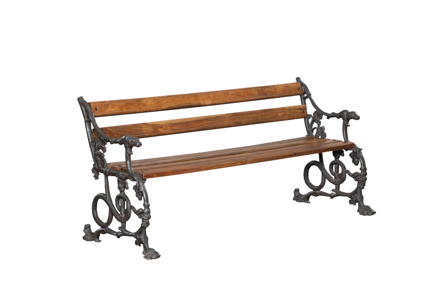 Victorian Style (Coalbrookdale) Cast Iron Dog & Serpentine Bench
