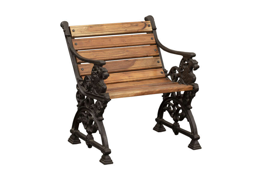 Cast Iron & Hardwood Garden Chair - Garden Sofa