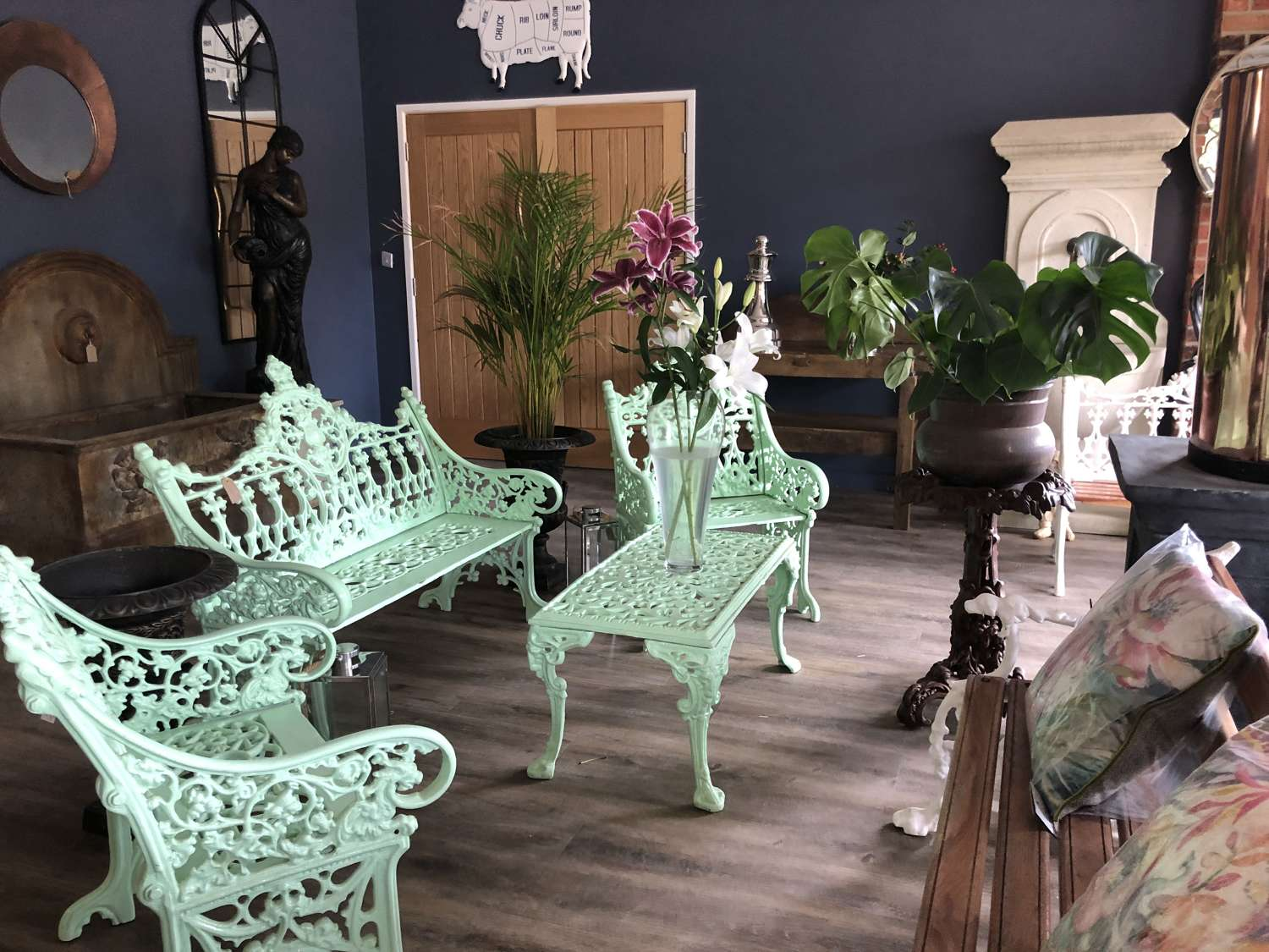 Cast Iron Four Piece Garden Furniture Set - Bench 2 Chairs & Table