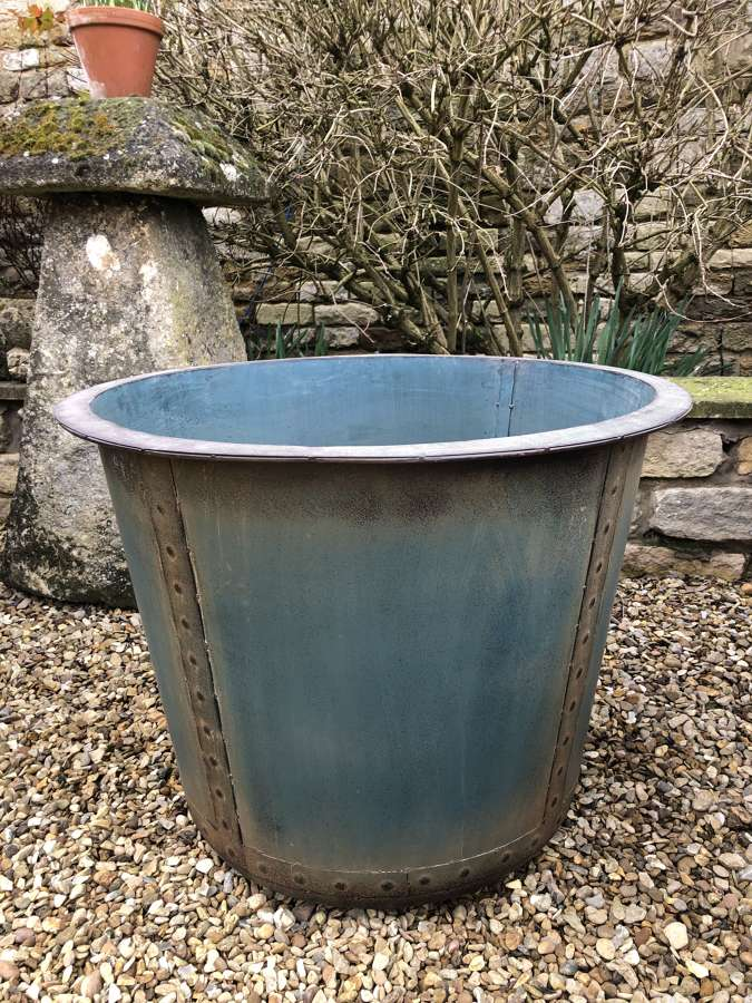 Antique Look Riveted Iron Tubs - Copper Look Planters 72 cm dia