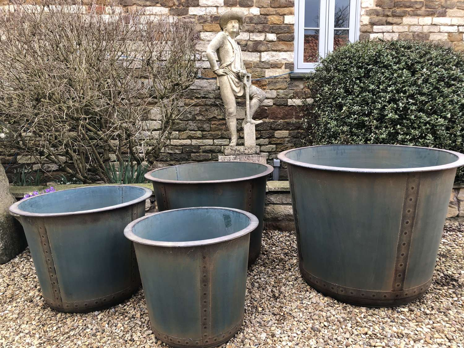 Set of Four Antique Look Riveted Iron Tubs - Riveted Planters x 4