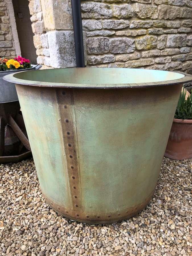 Ex LG  Copper effect planter - Riveted Planters 97 cm dia Verdi Green