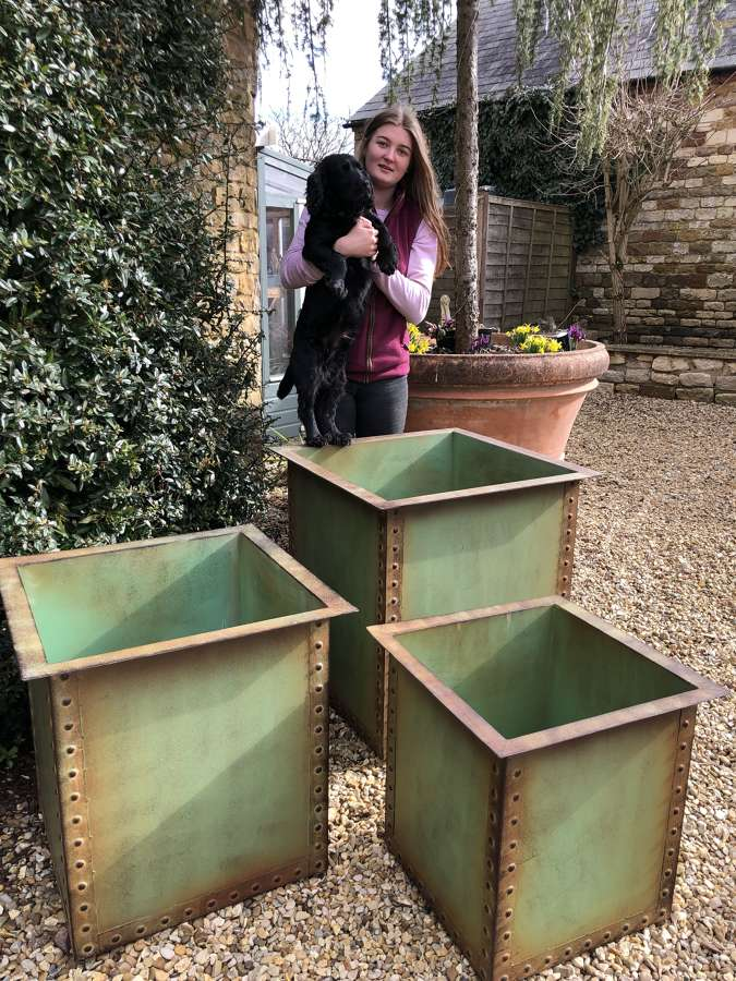 Set of Three Square Iron Riveted Planters - Iron Tubs x 3 Copper Green