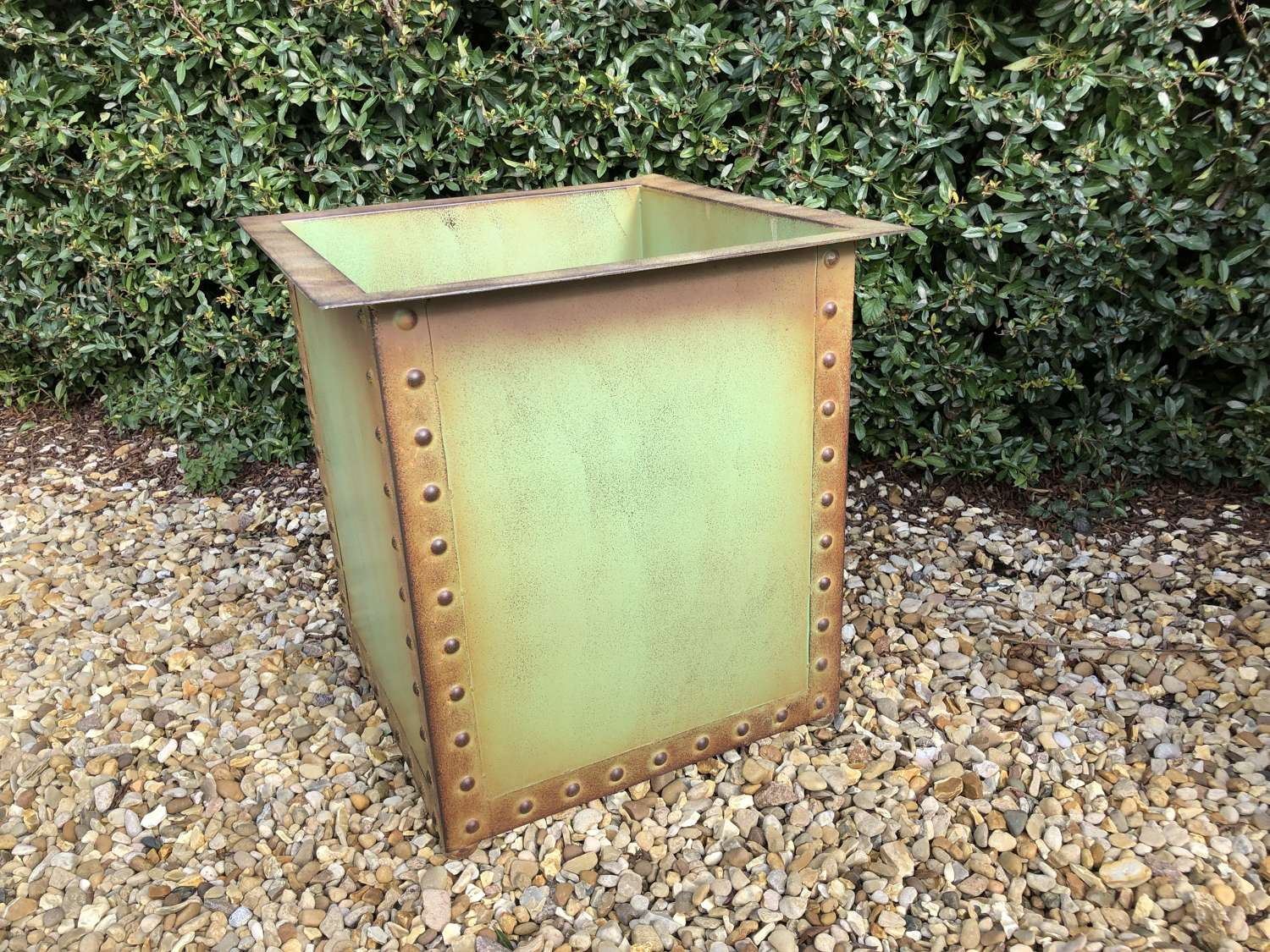 Square Iron Riveted Planters - Iron Tubs - Riveted Planters Green