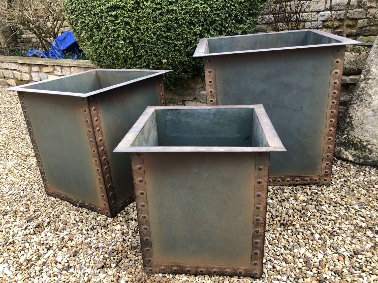 Set of Three Square Iron Riveted Planters - Iron Tubs x 3 Copper Blue