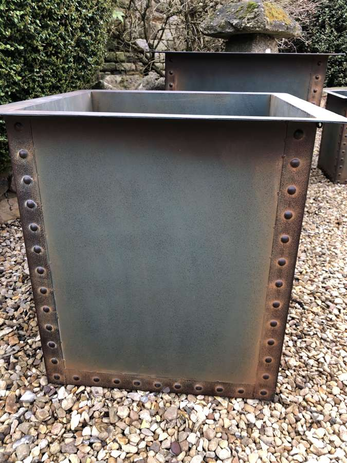 Square Iron Riveted Planters - Iron Tubs - Riveted Planters Blue