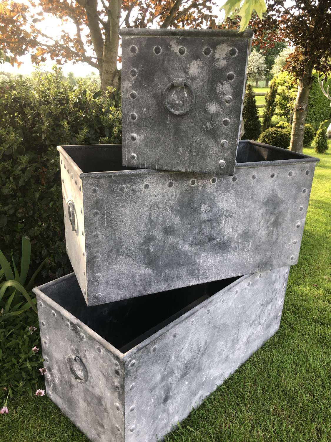 Set of Three Galvanised Riveted Troughs with ring handles - Galv Tanks