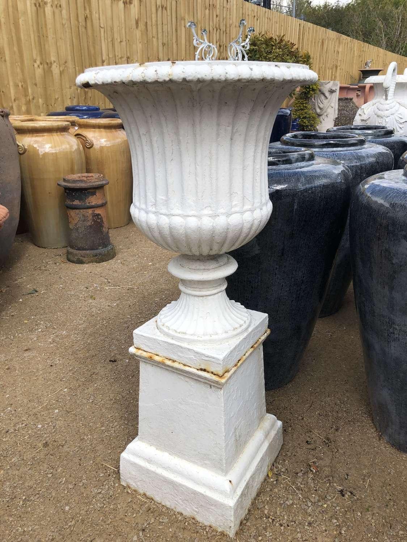 Original antique cast iron urn on plinth 100 cm