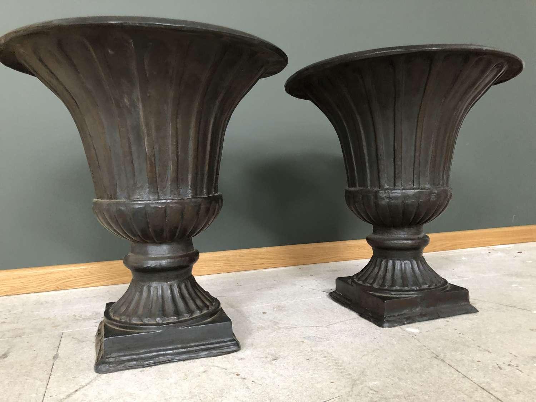 Pair of stunning Cast Iron Urns - cast iron planters