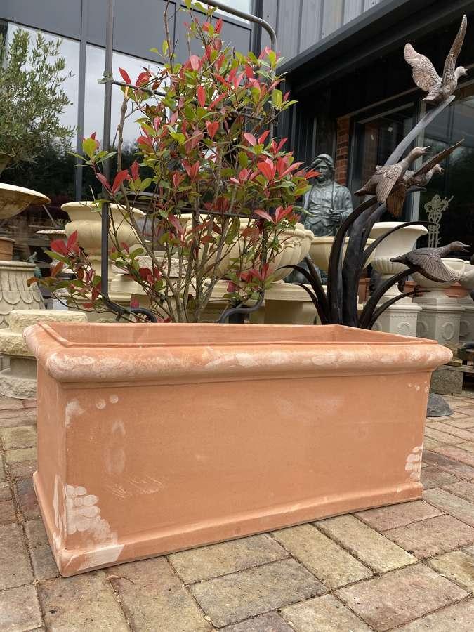Rectangular Terracotta Trough with Rolled Rim