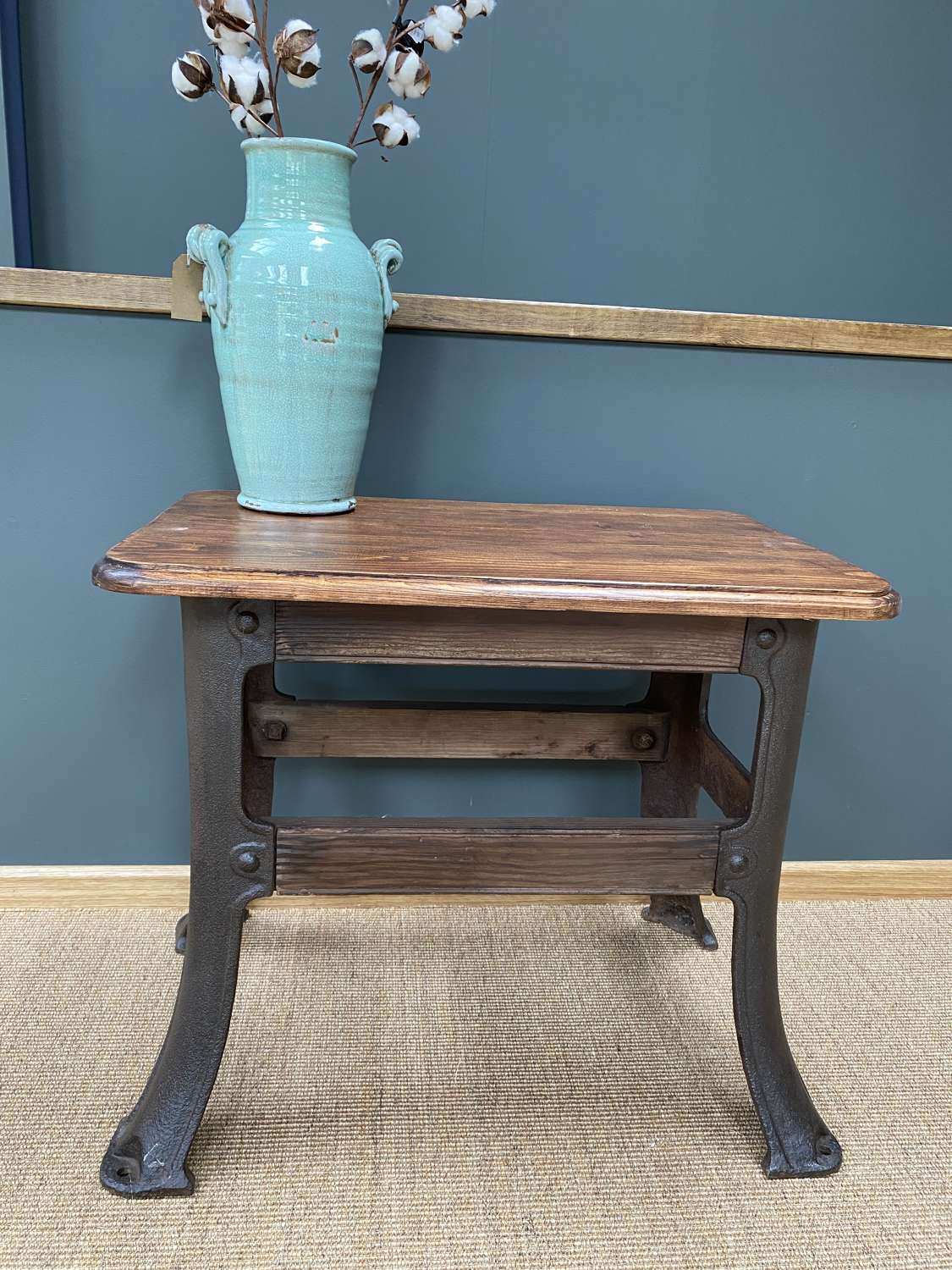 Cast Iron Industrial Table with Wooden Top