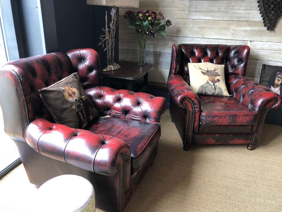 Pair of Chesterfield Arm Chairs Ox blood Red.
