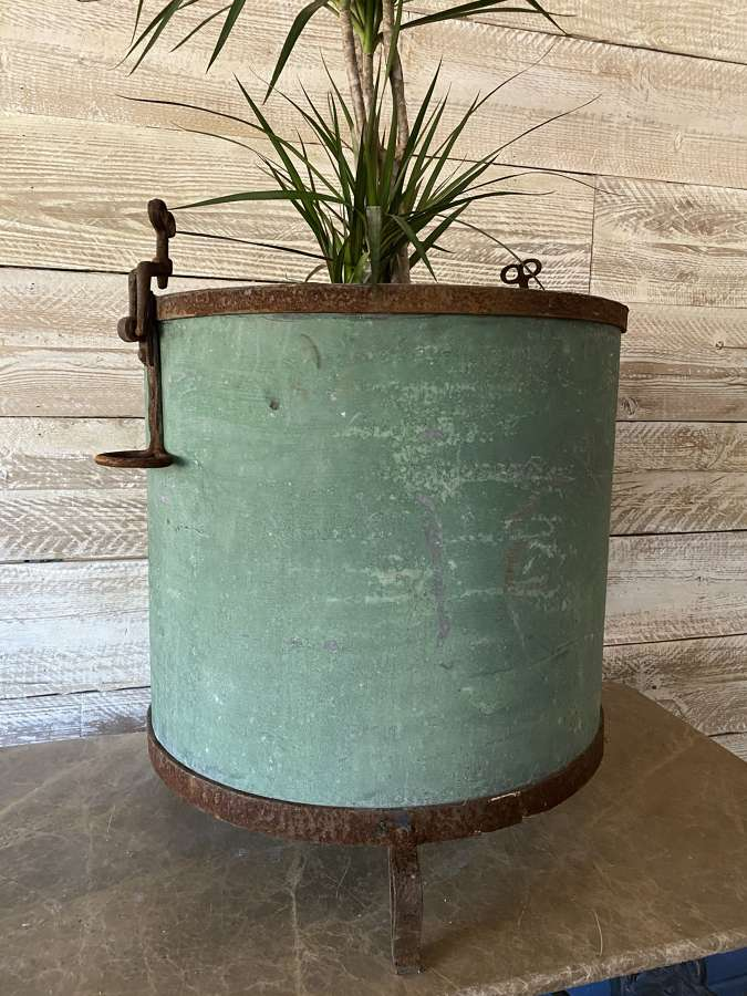 Galvanised planter with Wrought Iron Work