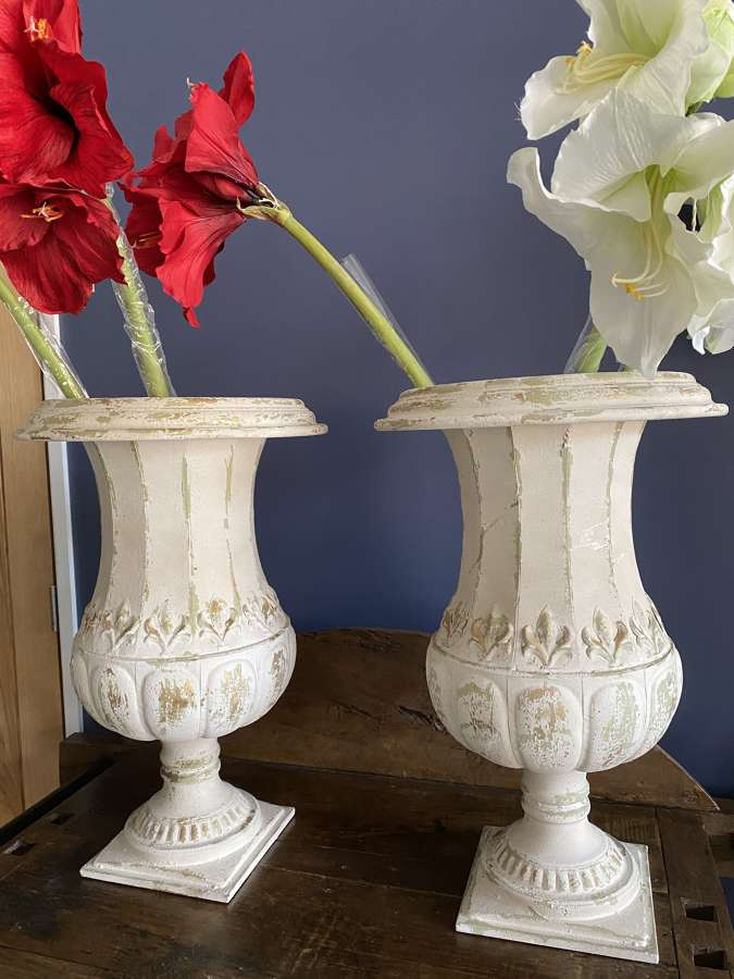 Pair of Light Weight Distressed Indoor Iron Planters